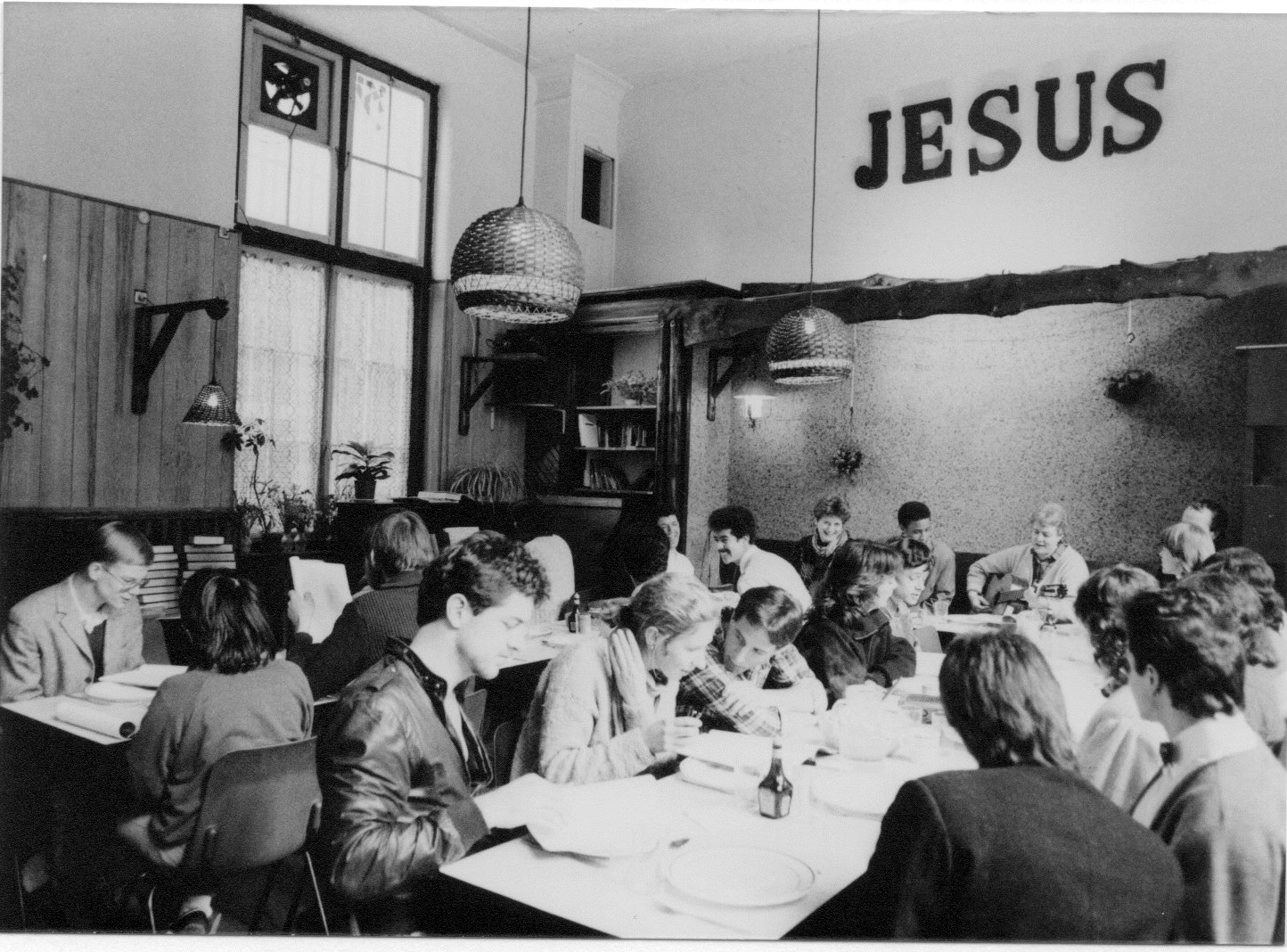 Bible study in the Shelter City cafe in the 80's